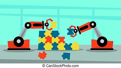 Two robotic arms building a colorful puzzle.