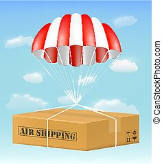 parachute with air shipping carton box with sky
