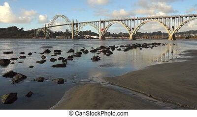 Yaquina Bay Shellfish Preserve Newport Bridge Oregon River...