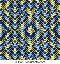 Knitting seamless pattern in blue and yellow