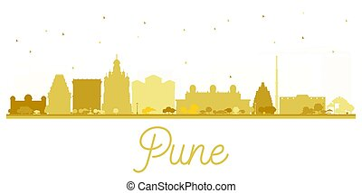Pune skyline golden silhouette. Vector illustration. Simple...