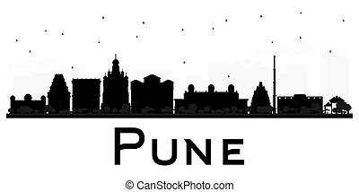 Pune skyline black and white silhouette. Vector...
