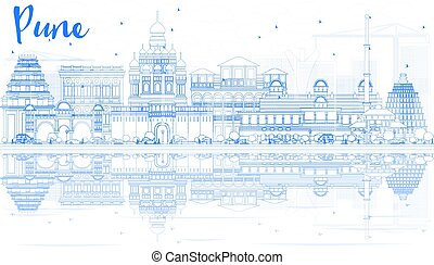 Outline Pune Skyline with Blue Buildings and Reflections....