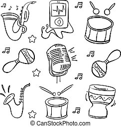 Doodle music element hand draw