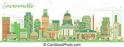 Abstract Sacramento Skyline with Color Buildings.