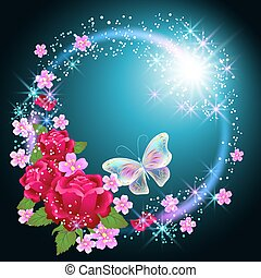 Butterflies and roses with firework and  stars
