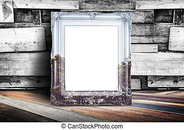 Blank nature overlay vintage photo frame leaning at plank...