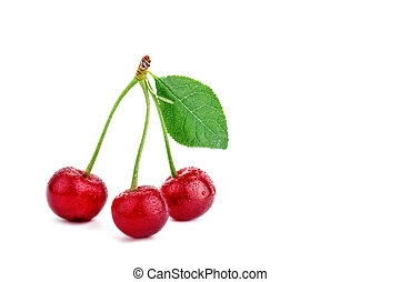 Berries ripe cherry on a white background.
