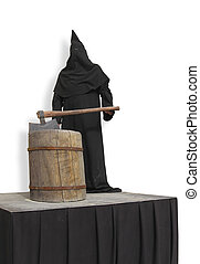 executioner on the scaffold - executioner in a black robe...