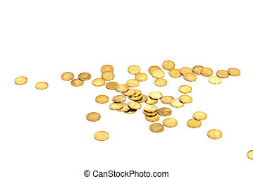 Gold coins on white background, business banking idea.