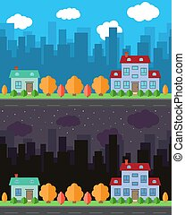 Vector city with two cartoon houses in the day and night.