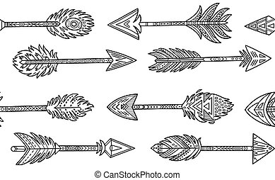 Ink seamless pattern. Native American Indian arrows in ethnic style