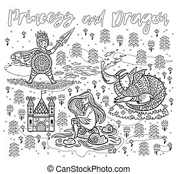 Princess and Dragon art in outline. Magic fantasy print