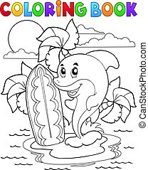 Coloring book dolphin theme 3 - eps10 vector illustration.