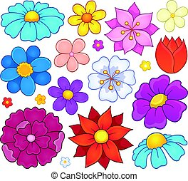 Stylized flower heads theme set 1 - eps10 vector...