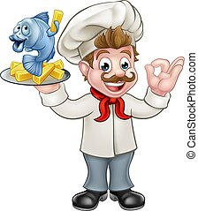 Fish and Chips Chef - A cartoon chef character holding fish...