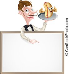 Cartoon Hotdog Waiter Butler Signboard