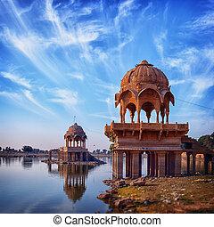Old architecture at Gadisar Lake in Jaisalmer. India,...