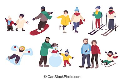 Set of winter games. Different people entertainment in...