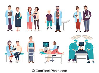 Set of doctors and patients in polyclinic, hospital. Visit to therapist, pediatrician, gynecologist, surgeon. medical services ultrasound diagnostics, x-ray, surgery. Vector cartoon illustrations.