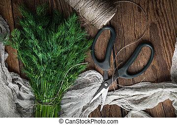 Dill. Fresh garden herbs. - Dill. Fresh garden herbs on...