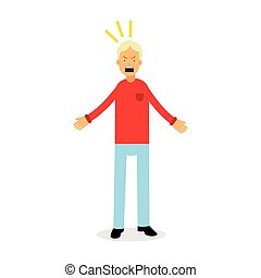 Furious and frustrated man screaming with rage, upset stressed man vector Illustration