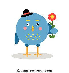 Funny cartoon bird character standing with flower, blue bird in geometric shape vector Illustration