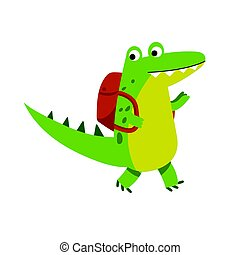 Cute cartoon crocodile character walking with backpack vector Illustration