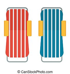 two beach chaise lounges - Two beach chaise lounges top view...