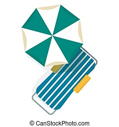 chaise longue and umbrella - Bright beach umbrellas and...