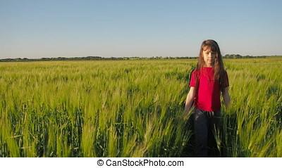 The girl walks along the wheat field.