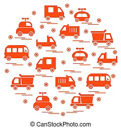 Cute vector illustration with baby cars arranged in a...