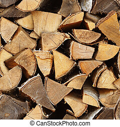 Seamless texture - birch wood in woodpile. Natural vintage rural pattern