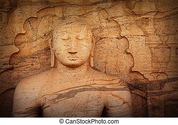 Polonnaruwa Gal Vihara Buddhist Statue. Sri Lanka - Sri...
