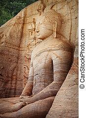 Polonnaruwa. Sri Lanka. Gal Vihara Buddhist Statue. Vertical...