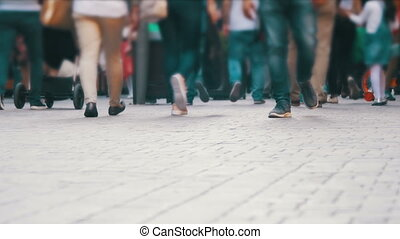 Crowd Anonymous People Walking on the Street. Crowd Feet. -...