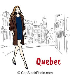 Woman in Quebec - Woman walking on St Jean Street in Quebec,...