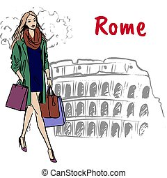 woman in Rome - Fashion sketch of beautiful woman with...