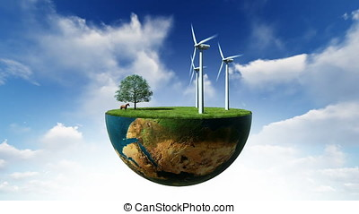 Environmental concept, Earth globe holding wind turbines,...