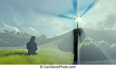 Woman praying at Jesus cross over beautiful sun rays