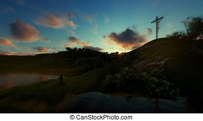 Woman praying at Jesus cross against beautiful sunset