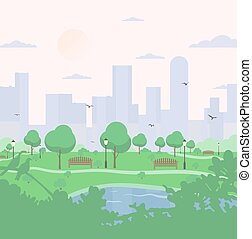 City park on high-rise buildings background. landscape with...