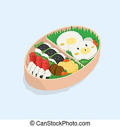 Japanese lunch box, bento. Funny cartoon food. Isometric...