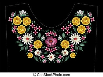 Bright satin stitch embroidery design with flowers. Folk...