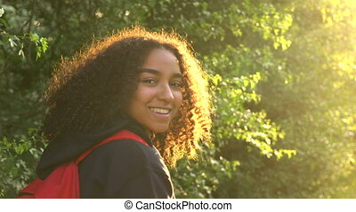 Mixed race African American girl teenager female young woman...