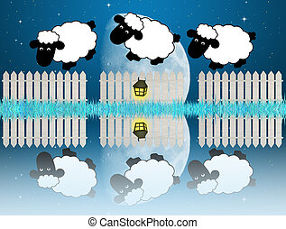 counting sheeps - illustration of counting sheeps