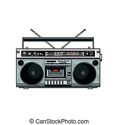 Retro style audio tape recorder, ghetto boom box from 90s -...