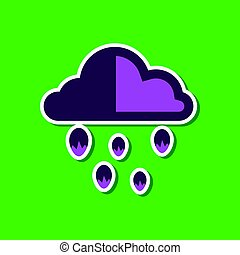paper sticker on stylish background of cloud hail - paper...