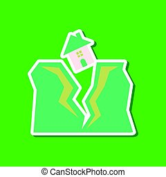 paper sticker on stylish background of house earthquake -...
