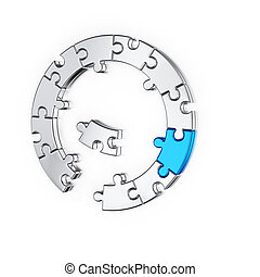 Puzzle jigsaw ring business concept. Isolated on white...